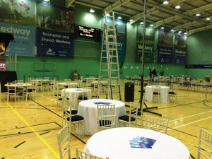 Medway Council count venue with big boards with the name of 'Medway' around the room